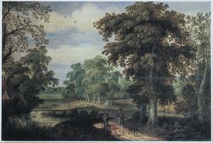 Bebost landschap met halthoudende wandelaars