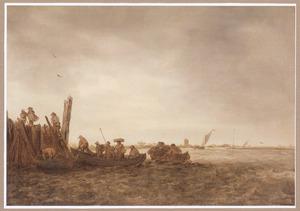 Rivierlandschap met roeiboten bij een steiger