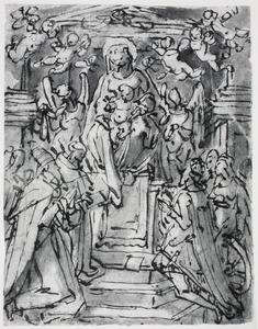 Madonna met kind, aanbeden door zes heiligen