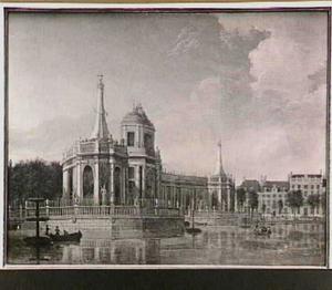Het ter ere van de Vrede van Aken in 1749 opgerichte vuurwerkpaviljoen in de Hofvijver in Den Haag