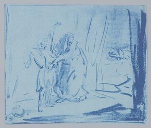 Rebekka trekt Jakob de kleren van Esau aan (Genesis 27:15)