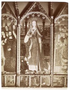 H. Catharina in een loggia (middendeel); drie taferelen uit het leven van H. Catharina (onder)