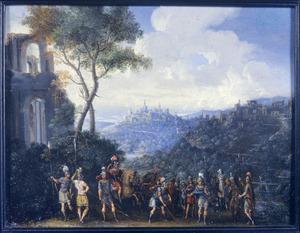 Panoramisch landschap met ongeïdentificeerde scène