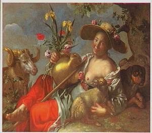 Herderin  onder een eik liggend met een ram, een lam en een hond