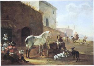 Zuidelijk landschap met een herberg; een schimmel en een stalknecht bij een voederbak en een rustende jager in gesprek met de herbergierster