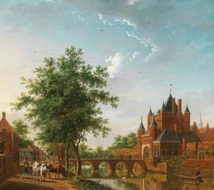 Gezicht op de Grote Houtpoort in Haarlem
