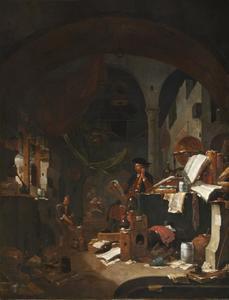 Alchemist met assistent in een werkplaats