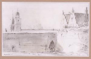 De stadsmuur en een gedeelte van het bastion Manenburg te Utrecht met links de torens van de Nicolaaskerk