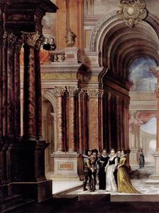 Barokke paleisgang met elegant gezelschap
