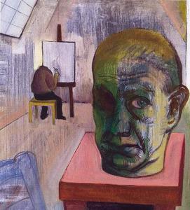 De schilder schildert zijn zelfportret