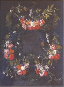 Bloemenguirlandes om een stenen cartouche