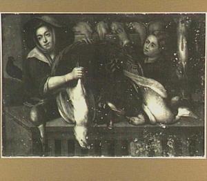 Uitstalling van gevogelte met een jonge vrouw en een jongen