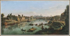 Gezicht op de Tiber bij de Ripa Grande in Rome