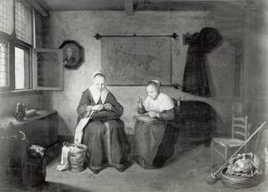 Interieur met twee naaiende vrouwen