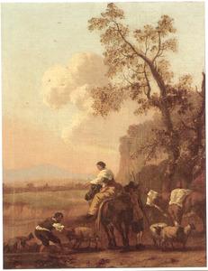 Zuidelijk landschap met herders en hun dieren