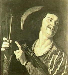 Lachende violist met fluitglas in de hand