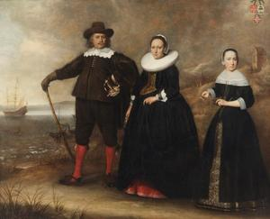 Familieportret van Otto van Vollenhoven,  Apollonia Boogaert en hun dochter Maria van Vollenhoven (1628-1666) met in de achtergrond het schip De Geweldige