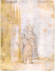 Twee elkaar groetende figuren (terugkeer van de verloren zoon?)