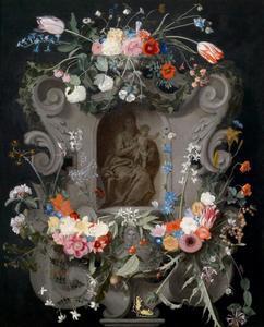 Voorstelling van  Maria met Kind omringd door een krans van bloemen