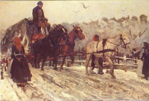 Karrepaarden in de sneeuw op de Prinsengracht bij de Westermarkt