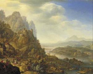 Berglandschap met gezicht op de Midden-Rijn