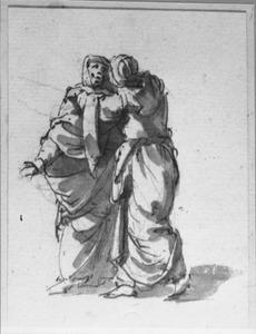 Twee staande elkaar omarmende vrouwen