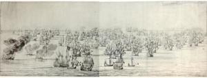"""De zeeslag bij Solebay, 28 mei 1672, met de actie nadat de hertog van York zijn vlag heeft overgebracht naar de """"London"""""""