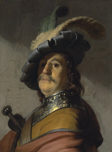 Borststuk van een man met halsberg en gevederde baret