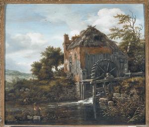 Landschap met watermolen en twee rietsnijders