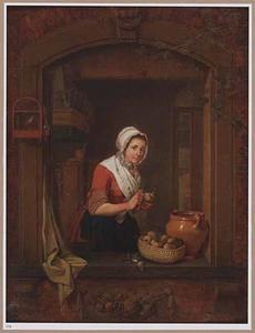 Keukenmeisje in een venster terwijl zij bieten schilt