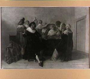 Elegant gezelschap bij het triktrakspel