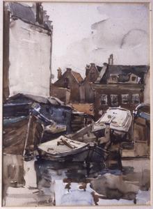 Stadsgezicht met boten aan het water