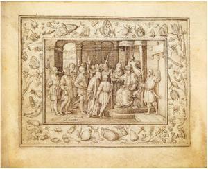 Christus voor Pontius Pilatus, in een decoratieve omlijsting