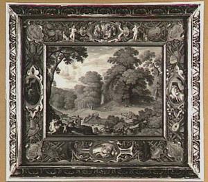 De geschiedenis van Adonis, in een decoratieve omlijsting (Metamorfosen 10:298-559, 708-739)