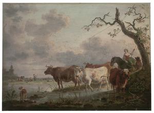 Landschap met herders en vee bij een doorwaadbare plaats in een rivier