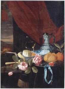 Stilleven met enkele rozen voor een venster