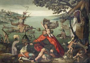 De H. Christoffel draagt het Christuskind door een zondige fantasie wereld