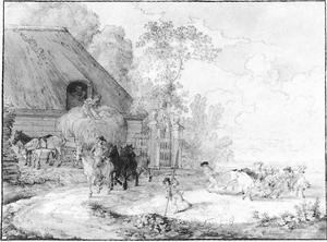 Landschap met boerderij, hooiwagen en figuren (allegorie van de Zomer)