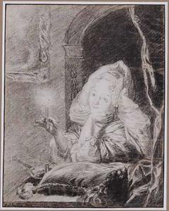 Jonge vrouw met brandende kaars zittend in interieur