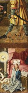Maria ontvangt de blijde boodschap (onder); fragment van een scène uit het leven van een heilige? (boven)