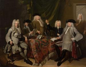 Groepsportret van de inspecteurs en de bediende van het Collegium Medicum in Amsterdam