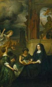 Allegorie op de nagedachtenis van Frederik Hendrik, prins van Oranje, met het portret van zijn weduwe Amalia van Solms