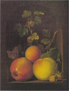 Een appel, Caville rouge, en andere vruchten