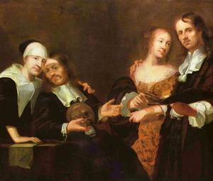 Familieportret van Joachim Luhn (c. 1640-1717) met zijn vrouw Hanna Margarthe Weyer en haar ouders, de schilder Jacob Weyer (1623-1670) en  Margarethe