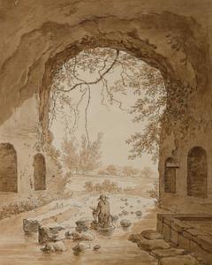 De ruïne van de grot van de nymf Egeria in Rome met zelfportret van de kunstenaar op de rug gezien
