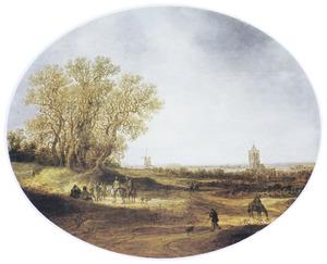 Landschap met een molen en de kerk van Laag-Elten