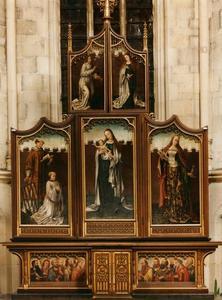 De annunciatie, de H. Laurentius met schenker, Maria met Christuskind, de HH. Catharina