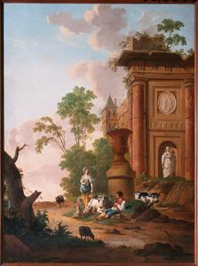 Italianiserend landschap met pastorale scène