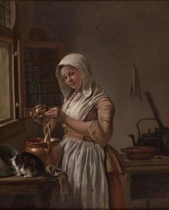 Een vrouw in de keuken