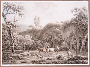 Rotsachtig rivierlandschap met figuren en vee